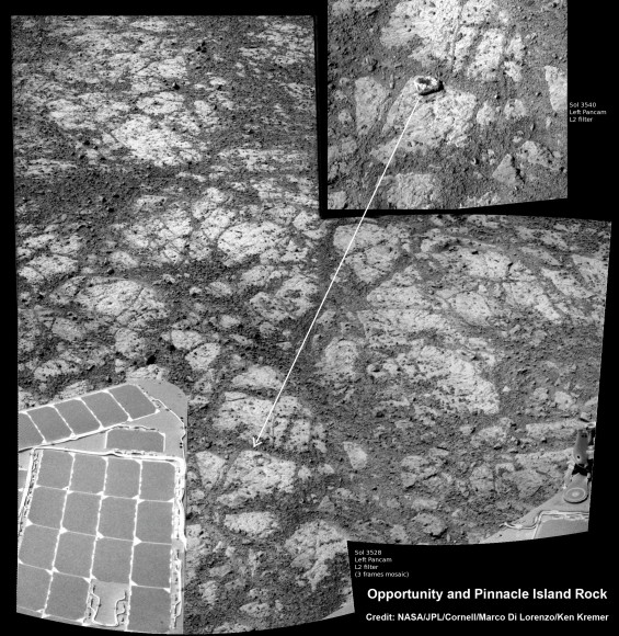 Mosaic of Opportunity and mysterious Pinnacle Island rock by Solander Point peak.  Mysterious Pinnacle Island rock suddenly appeared out of nowhere in images snapped on Sol 3540.  It was absent in earlier images on Sol 3528.  This mosaic shows the rock nearby the solar panels of NASA's Opportunity rover.  Assembled from Sol 3528 and 3540 pancam raw images.  Credit: NASA/JPL/Cornell/Marco Di Lorenzo/Ken Kremer-kenkremer.com