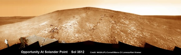 """Opportunity by Solander Point peak – 2nd Mars Decade Starts here!  NASA's Opportunity rover captured this panoramic mosaic on Dec. 10, 2013 (Sol 3512) near the summit of """"Solander Point"""" on the western rim of Endeavour Crater where she starts Decade 2 on the Red Planet. She is currently investigating outcrops of potential clay minerals formed in liquid water on her 1st mountain climbing adventure. Assembled from Sol 3512 navcam raw images. Credit: NASA/JPL/Cornell/Marco Di Lorenzo/Ken Kremer-kenkremer.com"""