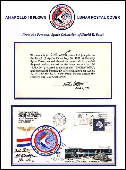 An Apollo 15 postal cover flown to the Moon. Credit: NASA.