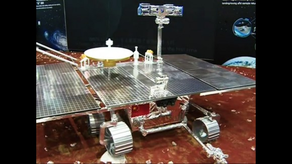 A mock-up of a future Chinese Martian rover was displayed at the International Industry Fair in Shanghai (Credit: South China Morning Post)