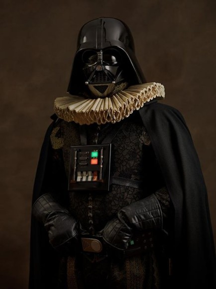 Darth Vader, a major character from 'Star Wars', imagined as a Renaissance gentleman. Credit: Sacha Goldberger
