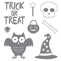 Howl-O-Ween Treat Wood-Mount Stamp Set