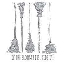 If The Broom Fits Wood-Mount Stamp