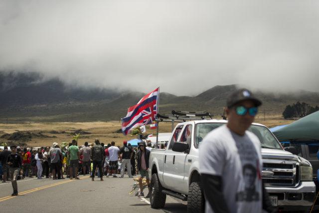 KIa'i gather for olelos (speeches) at Mauna Kea Access Road on July 26, 2019.
