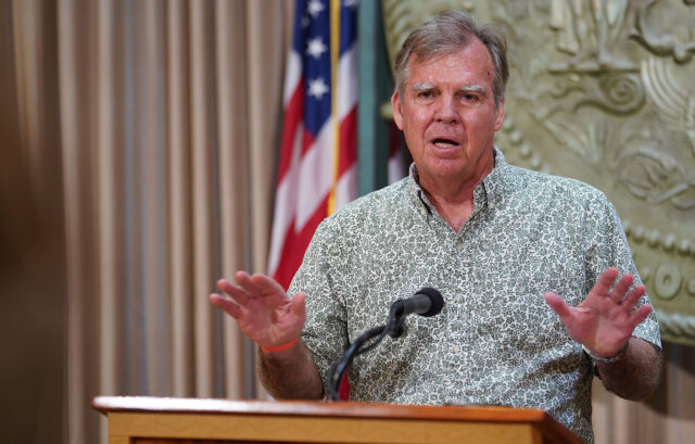 Department of Health Director Dr. Bruce Anderson gestures during a press conference announcing a spike of 41 new cases of COVID-19. July 7, 2020
