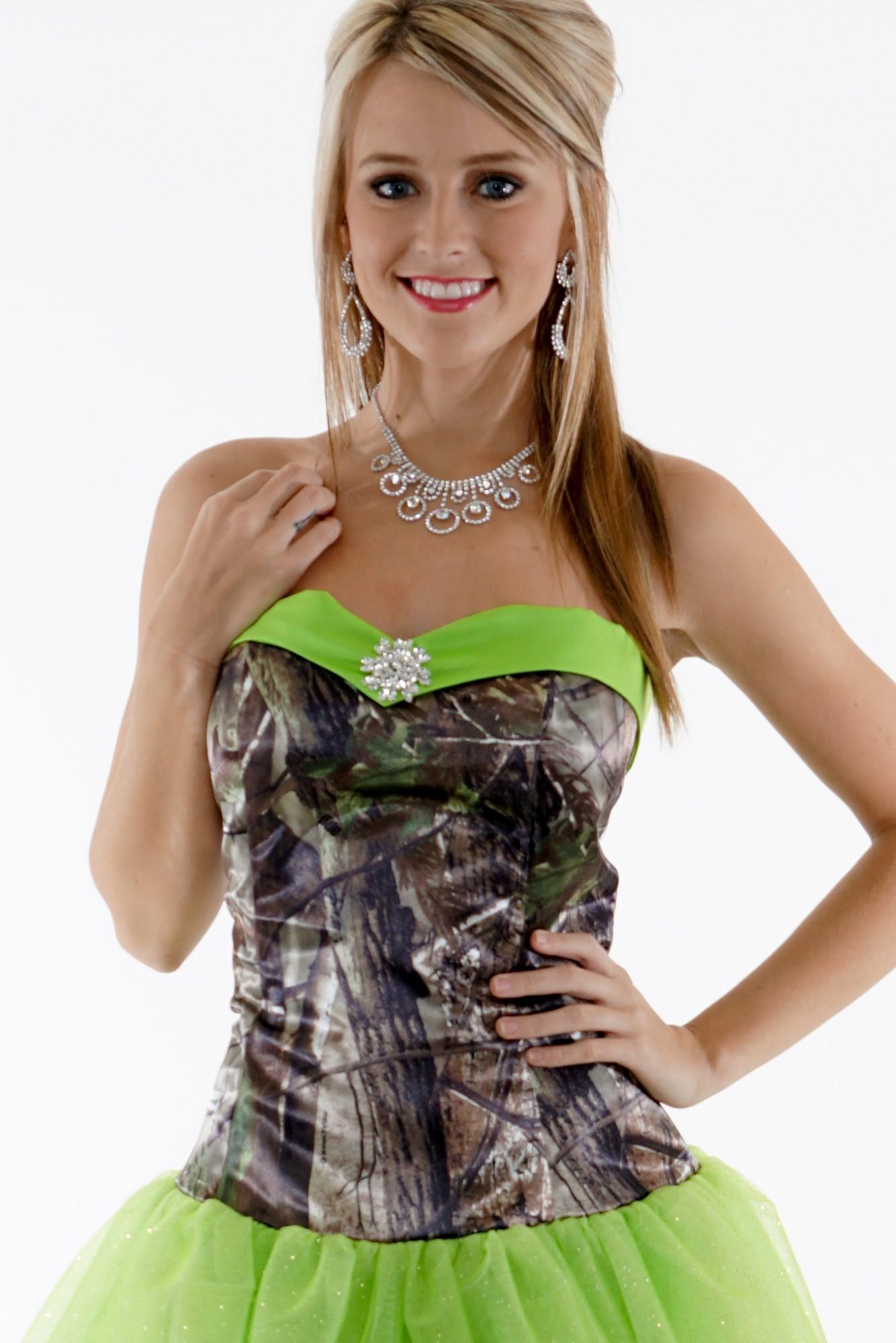 Camo Ball Gown Glitter Net Camouflage Prom Wedding