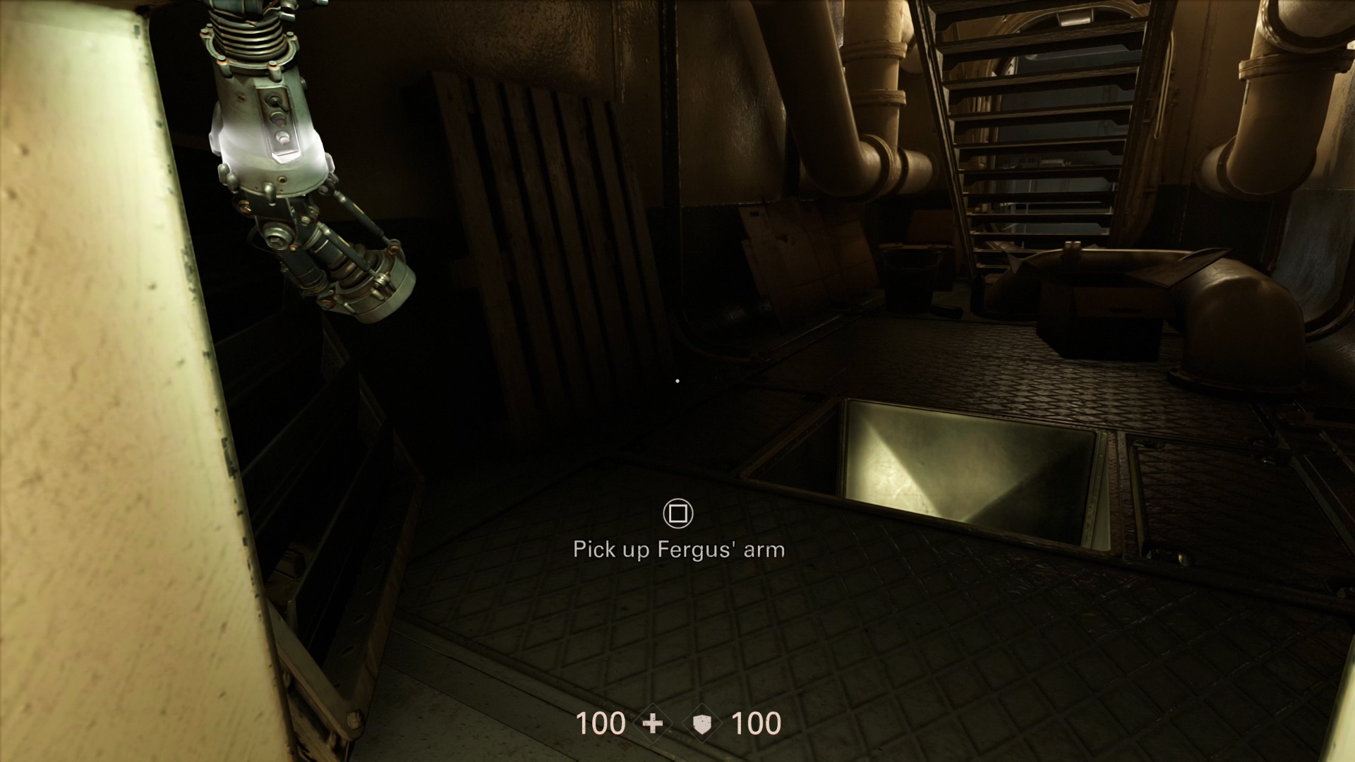 Wolfenstein 2   Where to Find Fergus  Arm   Shacknews As a side note  you can skip all the talking and just go straight into the  hanger and retrieve the arm right away  If you aren t interested in wasting  time