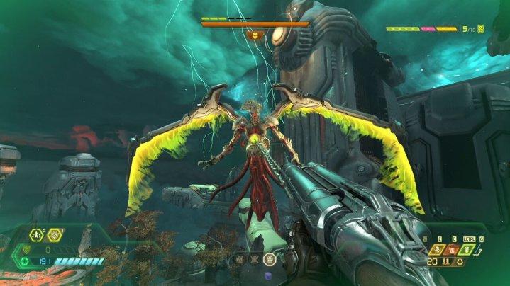Usa el gancho de carne para acercarte y realizar un golpe de sangre en el Khan Maykr - Doom Eternal