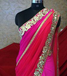 Buy Saree - Bright Pink Chiffon Saree chiffon-saree online