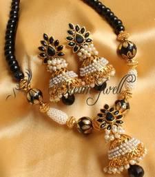 Buy GORGEOUS BLACK AASHIQUI DESIGNER NECKLACE SET necklace-set online