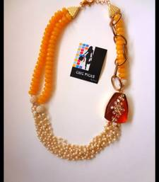 Buy Brown Kundan Pendant - Yellow Onyx Designer Necklace with Earrings Necklace online