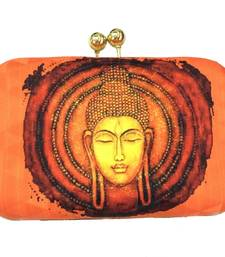 Buy orange digital print metal clutch clutch online