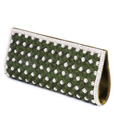 Buy olive green crystal studded clutch with art silk thread work. clutch online