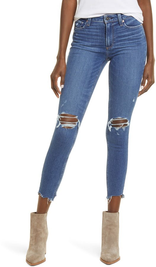 Hoxton Ripped Chewed Hem Ankle Skinny Jeans
