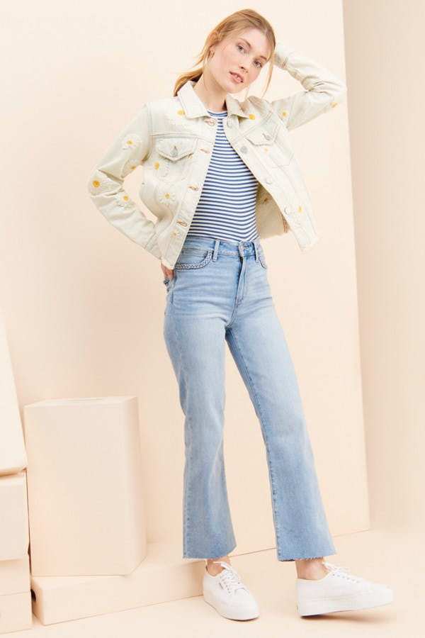 Atley Braided Crop Flare Jeans