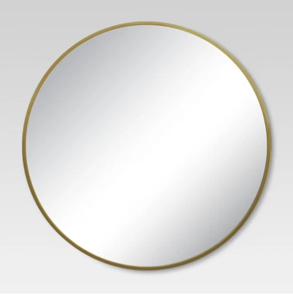 brass mirror, round mirror, minimal mirror