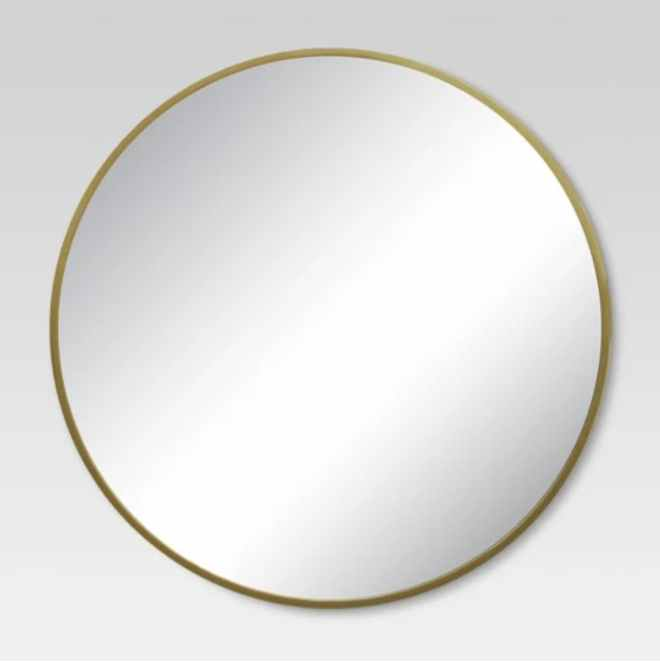 Round Decorative Wall Mirror in Brass