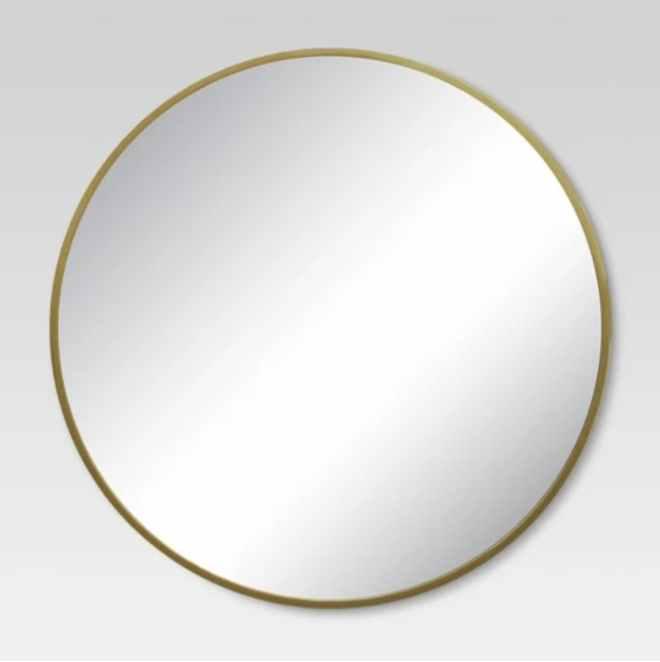 Round Decorative Wall Mirror in Brass