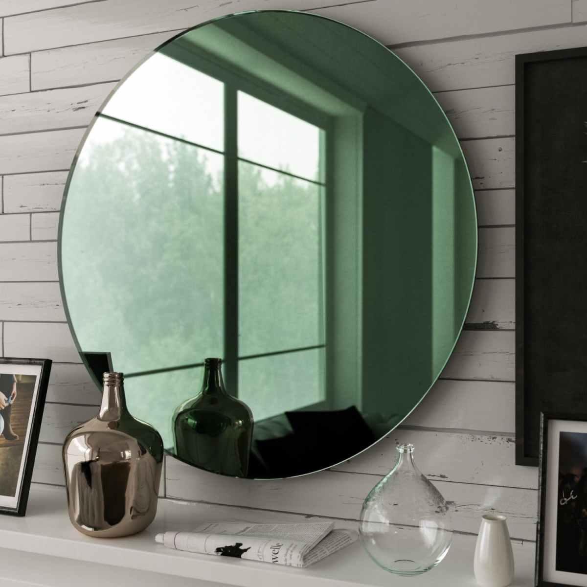 green mirror, round mirror, round green mirror