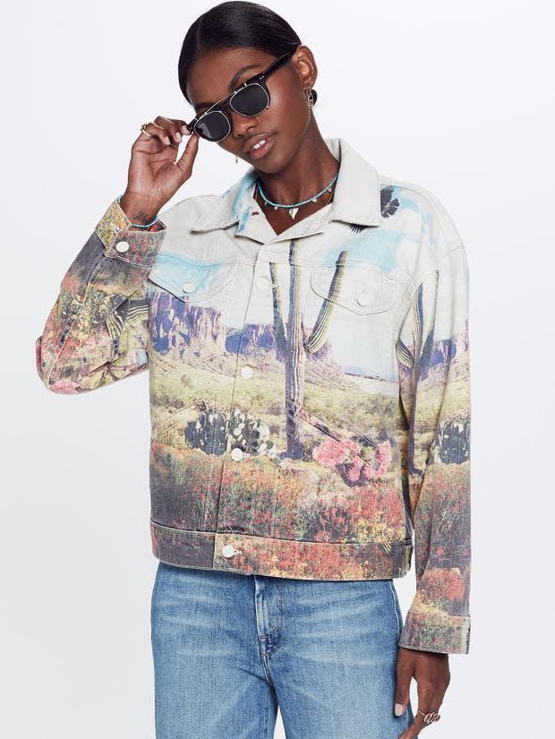 mother denim, mother jeans, denim jacket, jean jacket, printed denim