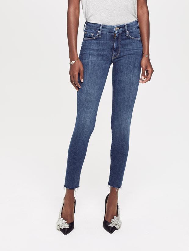 mother jeans, mother denim, frayed jeans, cropped jeans, skinny jeans, blue denim