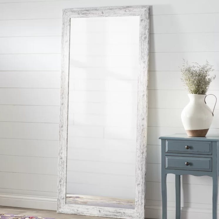 White Weathered Farmhouse Wall Mirror