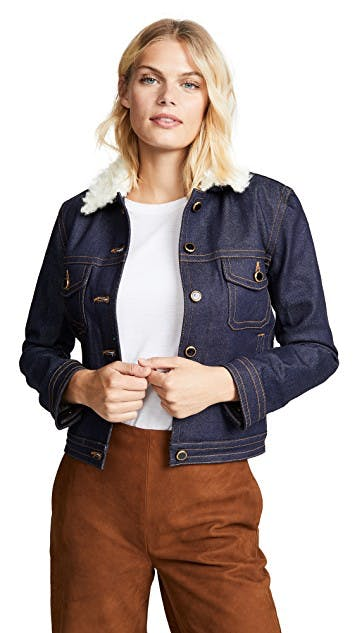 khaite, denim jacket, jean jacket, flight jacket, shearling jacket, sherpa jacket, dark denim, cropped jacket