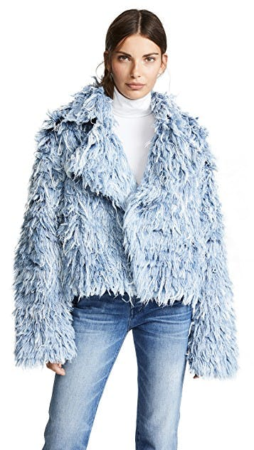 ksenia schnaider, denim fur, frayed denim, denim jacket, jean jacket, oversized denim jacket