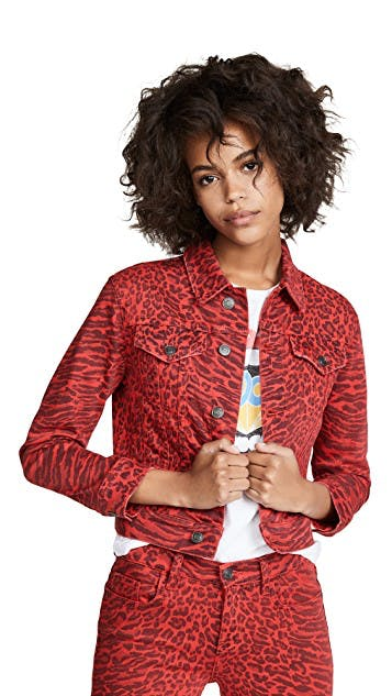 current/elliott, denim jacket, jean jacket, printed denim, red denim, colored jeans, leopard print, cropped denim jacket, shrunken denim jacket