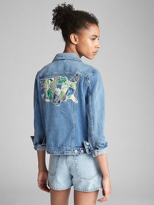 gap, jean jacket, denim jacket, shrunken denim jacket, cropped denim jacket, patchwork, repaired denim