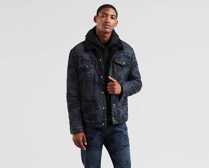 justin timberlake jeans, levi's, levi's x justin timberlake, fresh leaves collection, trucker jacket, camouflage, sherpa jacket