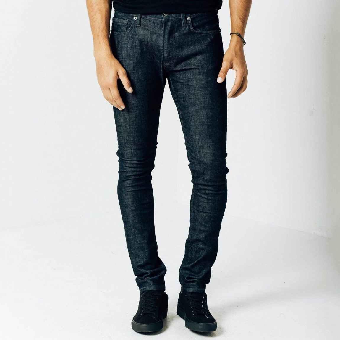 dstld, dstld jeans, raw denim, tonal stitching, selvedge denim, sanfornized denim, dark blue jeans, skinny jeans