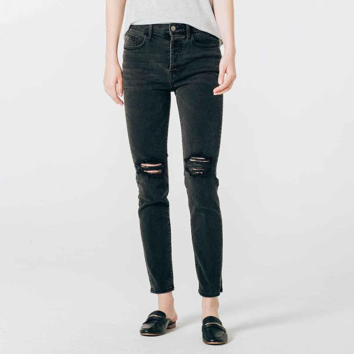 dstld, dstld jeans, mom jeans, high rise jeans, distressed jeans, destruced jeans, high rise jeans, ripped jeans, faded black denim, cropped denim