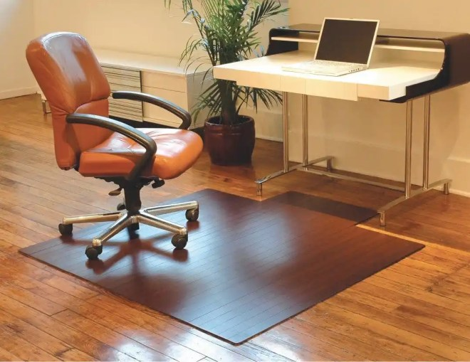 Bamboo Roll Up Office Chair Mat