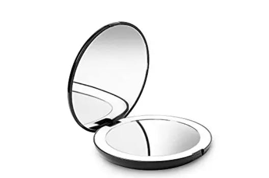 """Fancii LED Lighted Travel Makeup Mirror, 1x/10x Magnification - Daylight LED, Compact, Portable, Large 5"""" Wide Illuminated Folding Mirror"""