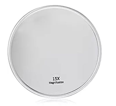 Harry D Koenig & Co 15x Magnification Mirror with Suction Cup, Round, 5 Inch