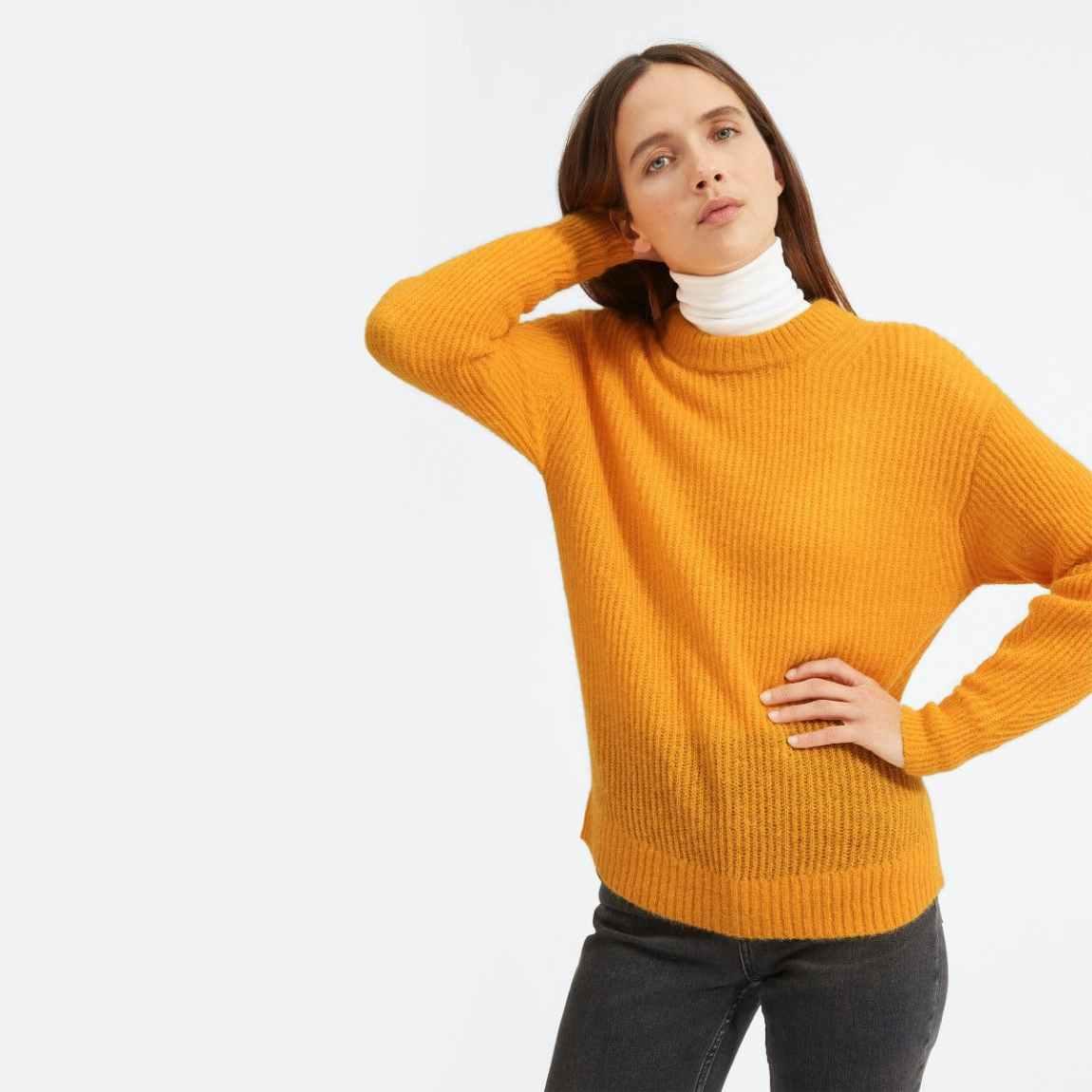 everlane, everlane knit, waffle knit sweater, knit sweater, trutleneck, sweater, orange knit sweater, denimblog, denim blog