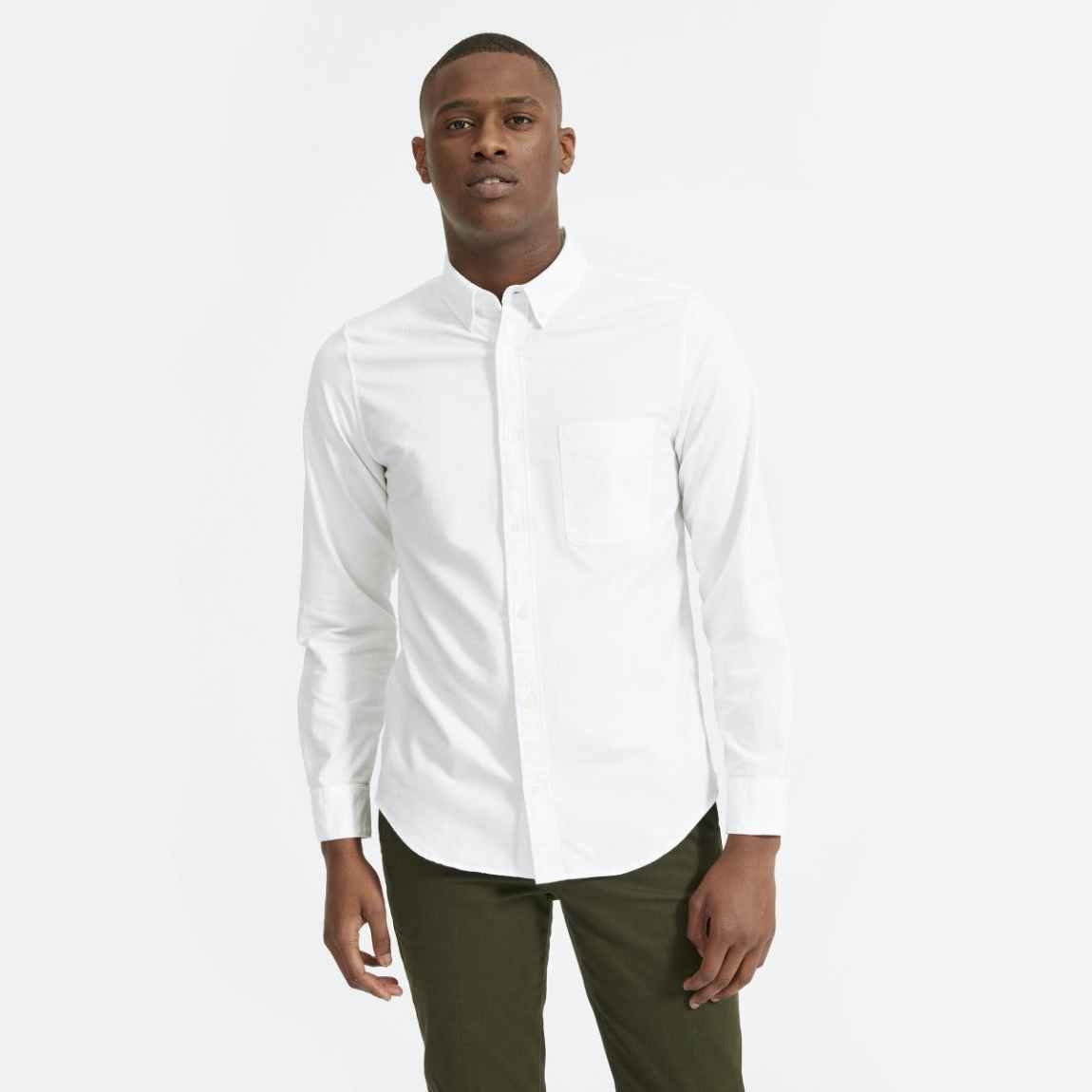 everlane shirt, everlane, white oxford shirt, white button up shirt, japanese oxford, slim fit oxford, white shirt, denimblog, denim blog