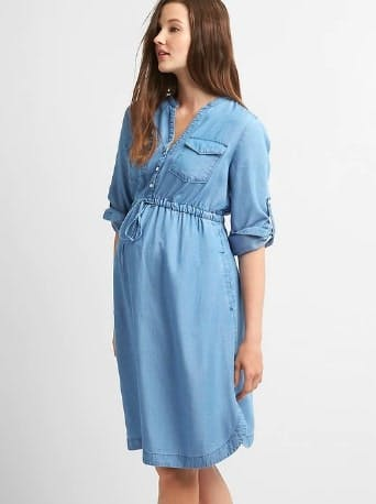 Maternity Tencel Shirtdress