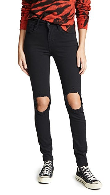 High Rise Skinny Black distressed jeans