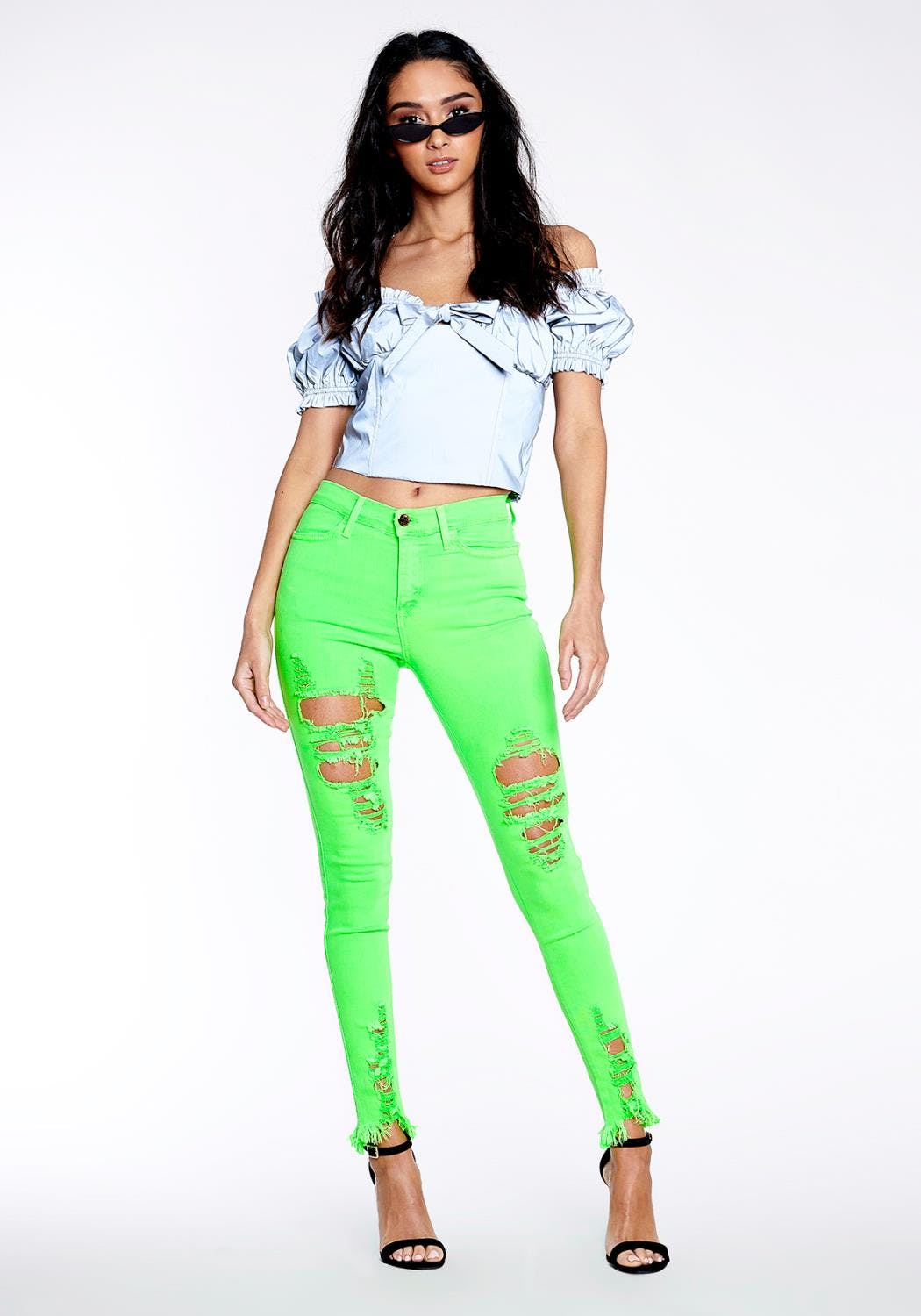 P1213 NG - Neon Distressed Skinny Jeans