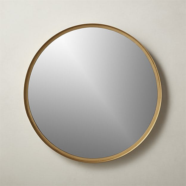 Croft Round Brass Mirror
