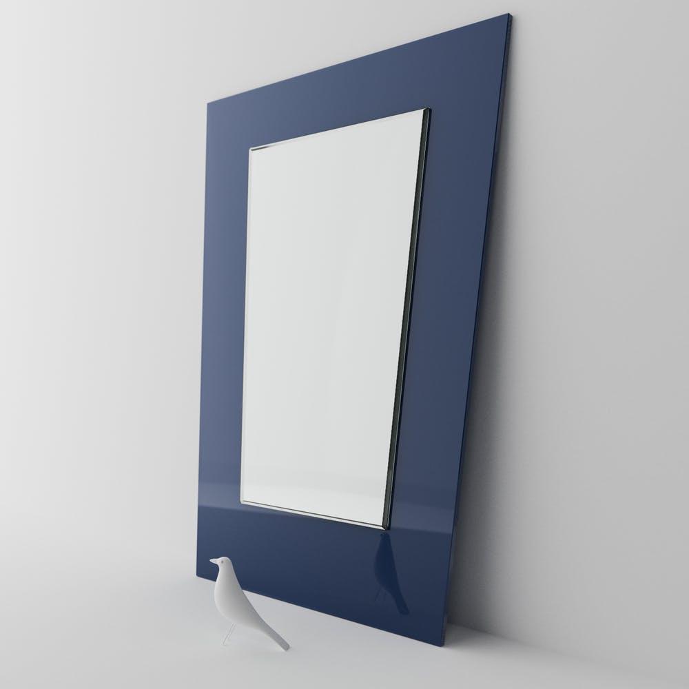 modern blue mirror