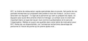 Lettre De Motivation Kfc