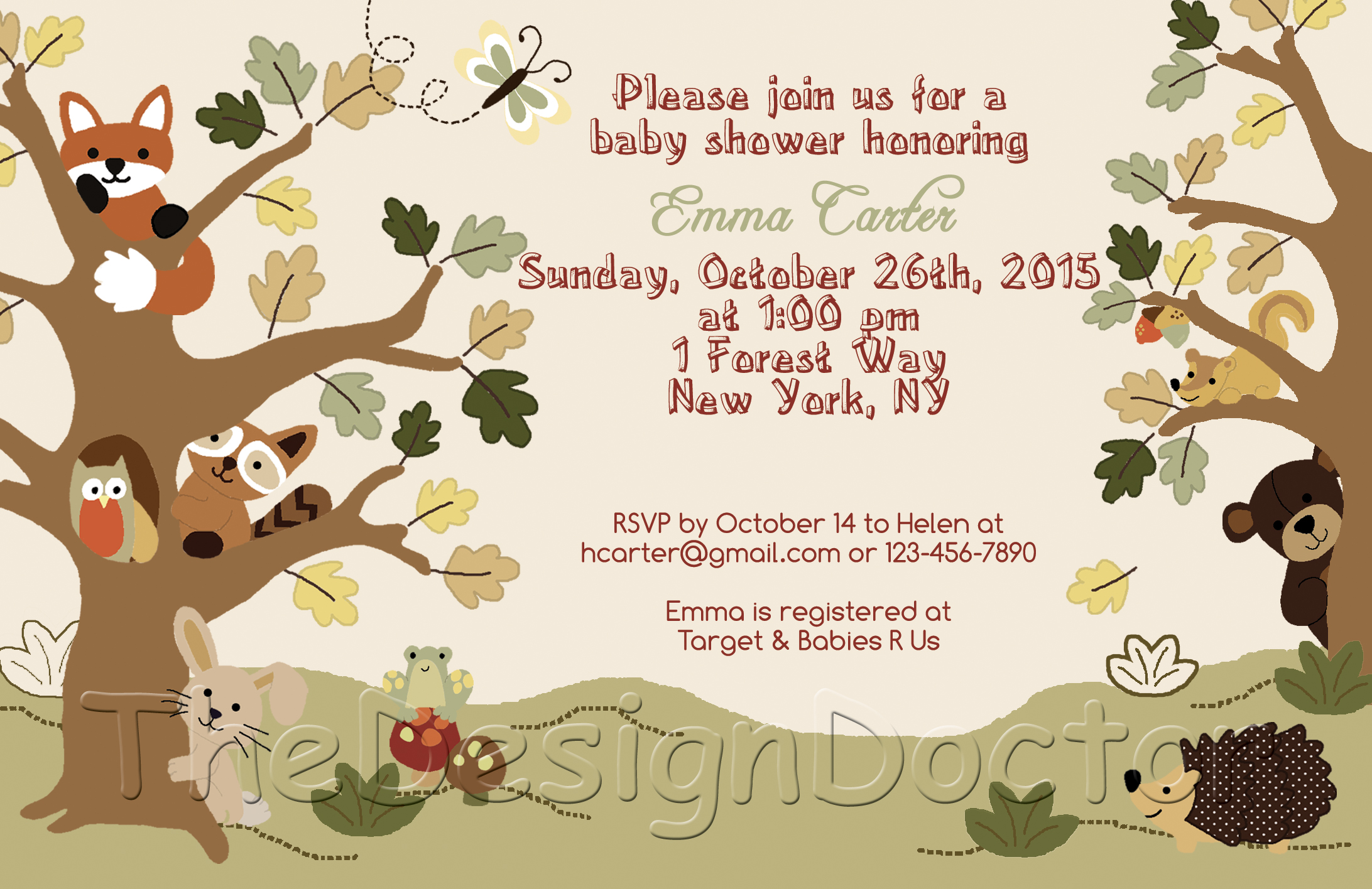 Woodland Animal Echo Forest Friends Theme Baby Shower Invitation And Thank You Card Printable