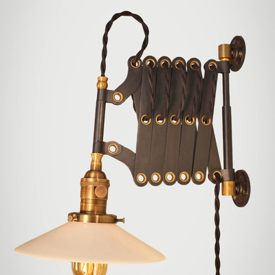 vintage industrial scissor light expandable accordion swing arm wall sconce steampunk lamp black steel industrial lighting
