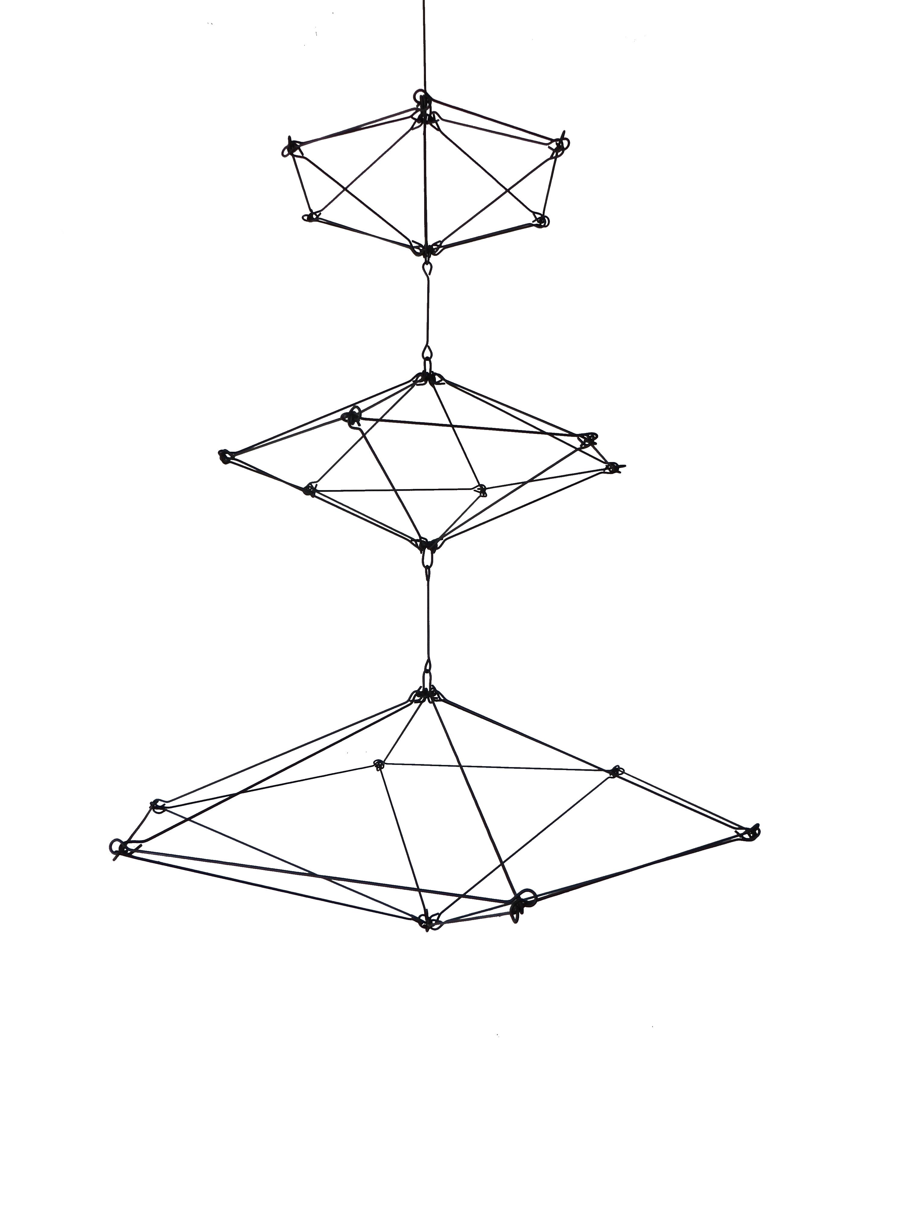 Modern Himmeli Inspired Geometric Mobile Sculpture