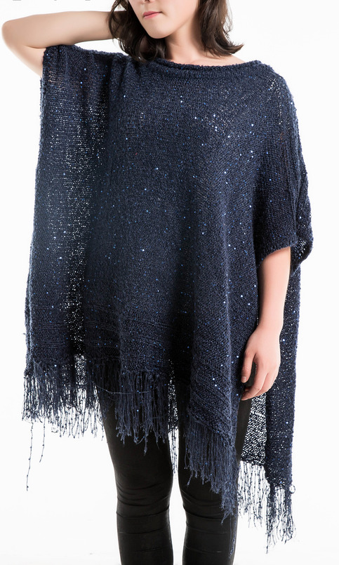 Womens Metallic Sequin Tunics Poncho Fringe Pullover