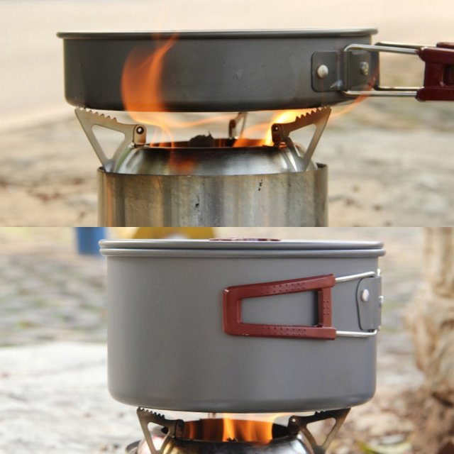 Portable Camping Stainless Steel Outdoor Alcohol Wood Rocket Stove