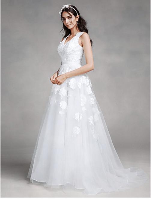 V Neckline Organza Wedding Dress Petals Detail Lace Up Back Onlyforbrides Online Store Powered By Storenvy